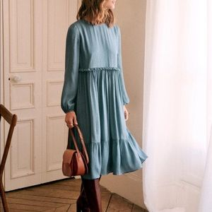 Sezane Ares Dress in Vintage Blue, size 36